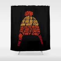 hat Shower Curtains featuring Jayne Hat by Nana Leonti