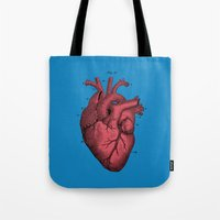 anatomical heart Tote Bags featuring Vintage Anatomical Heart Illustration by Digital Crafts