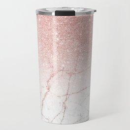 Rose Glitter Pink Marble Travel Mug