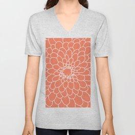 Coral Chrysanth Unisex V-Neck