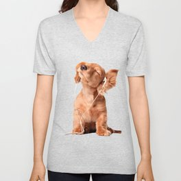 Young Puppy Listening to Music on Headphones Unisex V-Neck