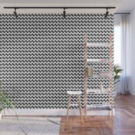 Gray & White Horizontal Zigzag Chevron Pattern Digital Illustration Artwork Wall Mural