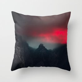 Burning clouds, fog and mountains Throw Pillow