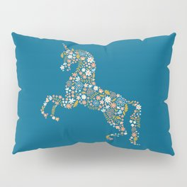 Floral Unicorn in Blue + Coral Pillow Sham