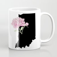 indiana Mugs featuring Indiana Silhouette by Ursula Rodgers
