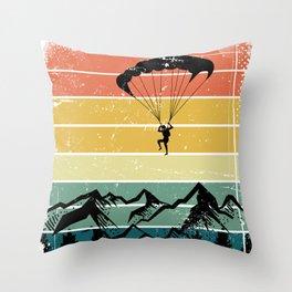 Paragliding Retro Mountains Throw Pillow