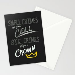 Small Crimes Big Crimes Stationery Cards