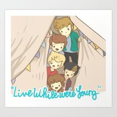 One Direction Live Like We're Young Cartoon 2 Art Print