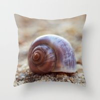 seashell Throw Pillows featuring Seashell by Ekaterina La