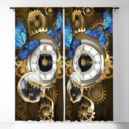 Silver Watches with Blue Butterflies ( Steampunk ) Blackout Curtain