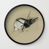 rat Wall Clocks featuring Rat by Freeminds