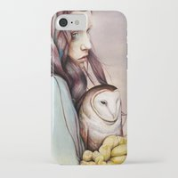 owl iPhone & iPod Cases featuring The Girl and the Owl by Michael Shapcott