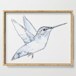 Hummingbird Watercolor, Flapping Wings, Muted Tones Serving Tray