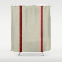 Vintage French Country Grainsack Berry on Linen for Twin and XL Twin bedding Shower Curtain