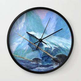 Narwhals at Play Wall Clock