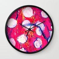 polka dot Wall Clocks featuring Polka Dot by Liz Haywood