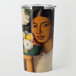 Mujer con Fiores (Bell Flowers, Dahlia & Calla Lilies) by Alfredo Martinez Travel Mug
