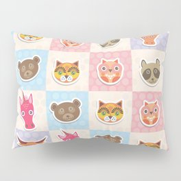 funny animals muzzle owl raccoon unicorn cow bear cat seamless pattern with pink lilac blue Pillow Sham