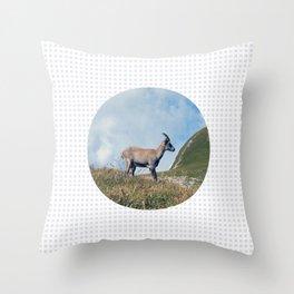Ibex while hiking Throw Pillow