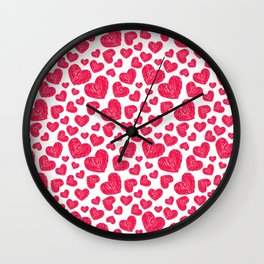 Scribbled hearts Wall Clock