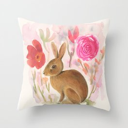 Cottontail Rabbit in the Garden Throw Pillow
