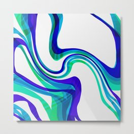 Blue Turquoise Flow Metal Print