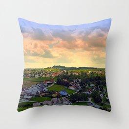 Beautiful village skyline beyond cloudy sky | landscape photography Throw Pillow