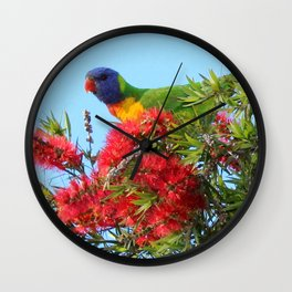 Lorikeet Rainbows and Brushes Wall Clock