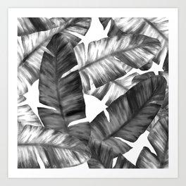 Black And White Tropical Banana Leaves Pattern Art Print