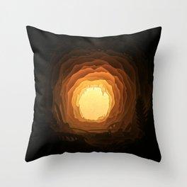 Cave, Papercut lightbox Throw Pillow