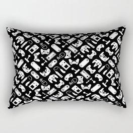 Control Your Game - White on Black Rectangular Pillow