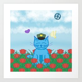 Memorial Day Remembrance Milo Blue Cat Cartoon  Art Print