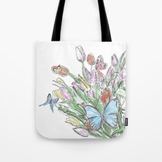 Watercolour, flowers and butterflies  Tote Bag