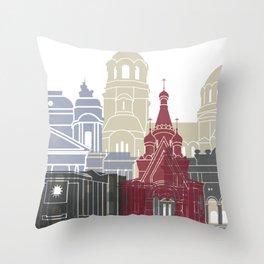 Sofia skyline poster Throw Pillow