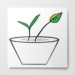 Minimalist Pot Plant Metal Print
