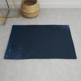 Deep Blue Velvet Texture Rose Flowers Rug
