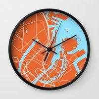 copenhagen Wall Clocks featuring Copenhagen Map by Studio Tesouro