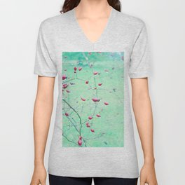 Red Berrys on light Green Ground Unisex V-Neck