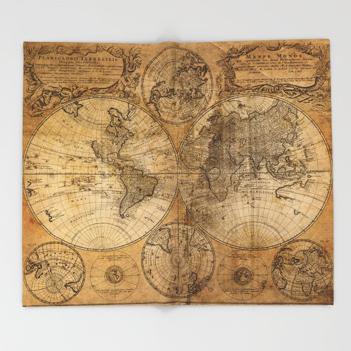 World map 1746 throw blanket by foxxmap society6 world map 1746 throw blanket gumiabroncs Images