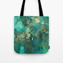 Pretty Green Watercolor With Gold Distressed Floral Tote Bag