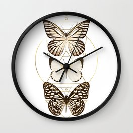 butterflies and gold geometry Wall Clock