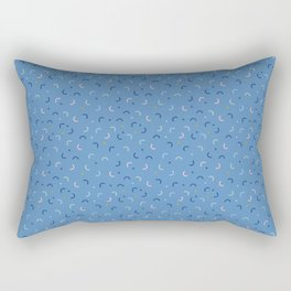 Memphis Style Blue Confetti Rectangular Pillow
