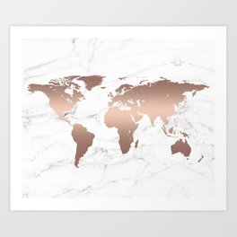 Rose Gold Metallic World Map on Marble Art Print