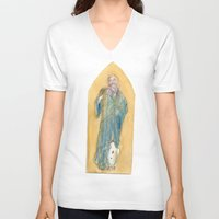 benedict V-neck T-shirts featuring Saint Benedict by Tricksterbelle Productions