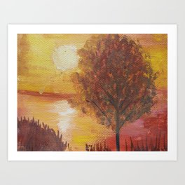 Sunset Tree and Lake  Scenery Painting Art Print