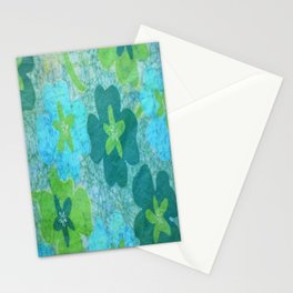 Floral batik in blues and greens Stationery Cards