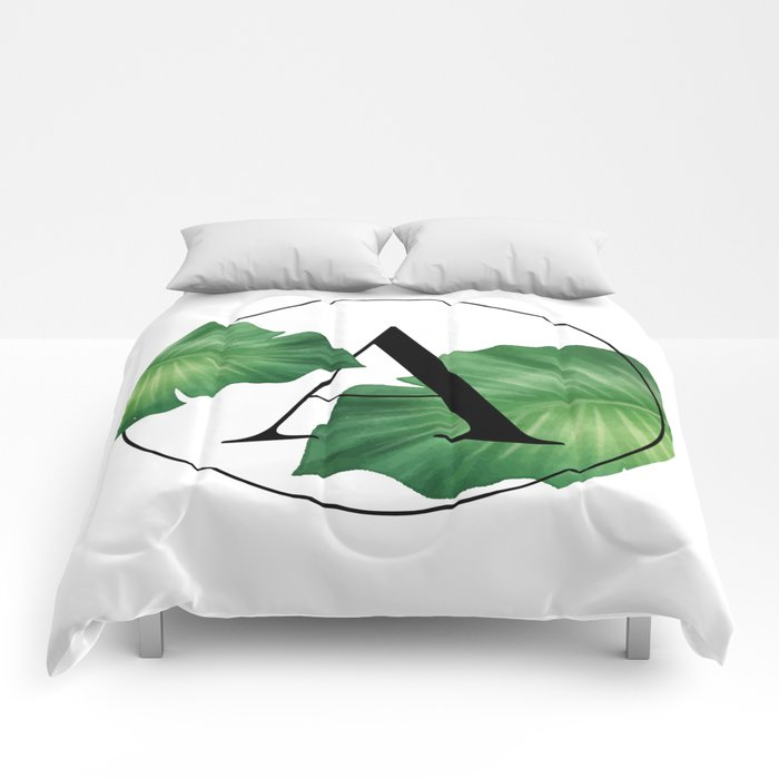 Monogram Leafs - Letter A Comforters