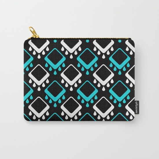 An abstract geometric pattern . Decoration white and turquoise on a black background . Carry-All Pouch