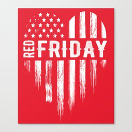 Red Friday Distressed USA Heart Military Canvas Print
