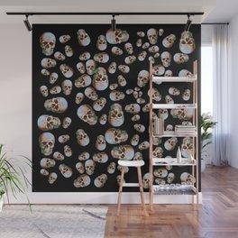 Happy Skull Random Pattern (Black) Wall Mural